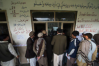 Voting gets underway in Jalalabad city, capital of Nangarhar province in Afghanistan for the presidential elections. 5-4-14 Supporters of Ashraf Ghani Ahmadzai monitor the counting of votes at the Abdul Wakil High School polling station in Jalalabad.