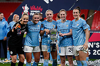 1st November 2020; Wembley Stadium, London, England; Womens FA Cup Final Football, Everton Womens versus Manchester City Womens; Goalkeeper Ellie Roebuck, Georgia Stanway, Alex Greenwood, Keira Walsh and Lucy Bronze of Manchester City Women with the Trophy