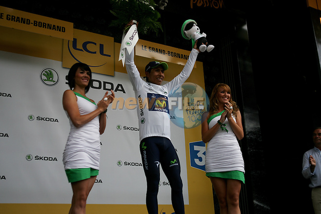 Nairo Alexander Quintana (COL) Movistar Team retains the young riders White Jersey at the end of Stage 19 of the 100th Edition of the 2013 Tour de France from Bourg-d'Oisans to Le Grand-Bornand. 19th July 2013.<br /> (Photo:Thomas van Bracht / Peloton Photos/www.newsfile.ie)