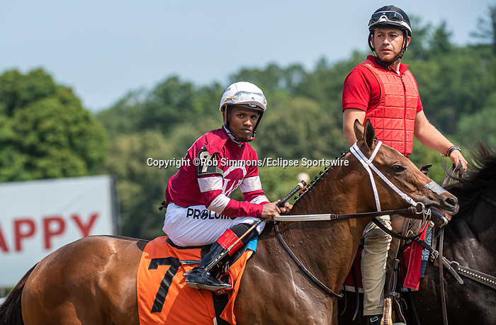 July 15 2021: Echo Zulu #7 in the post parade before the fifth race, a maiden special weight for two-year-olds at Saratoga Race Course in Saratoga Springs, N.Y. on July 15, 2021. Rob Simmons/Eclipse Sportswire/CSM