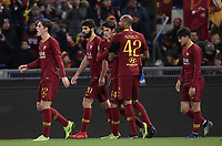 Football, Serie A: AS Roma - US Sassuolo, Olympic stadium, Rome, December 26, 2018. <br /> Roma's Patrik Schick (c) celebrates after scoring with his teammates during the Italian Serie A football match between Roma and Sassuolo at Rome's Olympic stadium, on December 26, 2018.<br /> UPDATE IMAGES PRESS/Isabella Bonotto