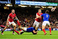 Dan Biggar of Wales is tackled by François Cros of France during the Guinness Six Nations Championship Round 3 match between Wales and France at the Principality Stadium in Cardiff, Wales, UK. Saturday 22 February 2020