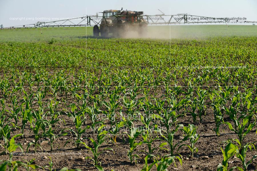 ROMANIA Banat, village Semlac, 2000 hectare farm, pesticide application in maize field / RUMAENIEN Banat, 2000 Hektar Farm bei Semlac, Maisfeld, Schaedlingsbekaempfung