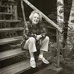 Spud Fleck on steps of old Camp Allagash at Moosehead Lake. 1995