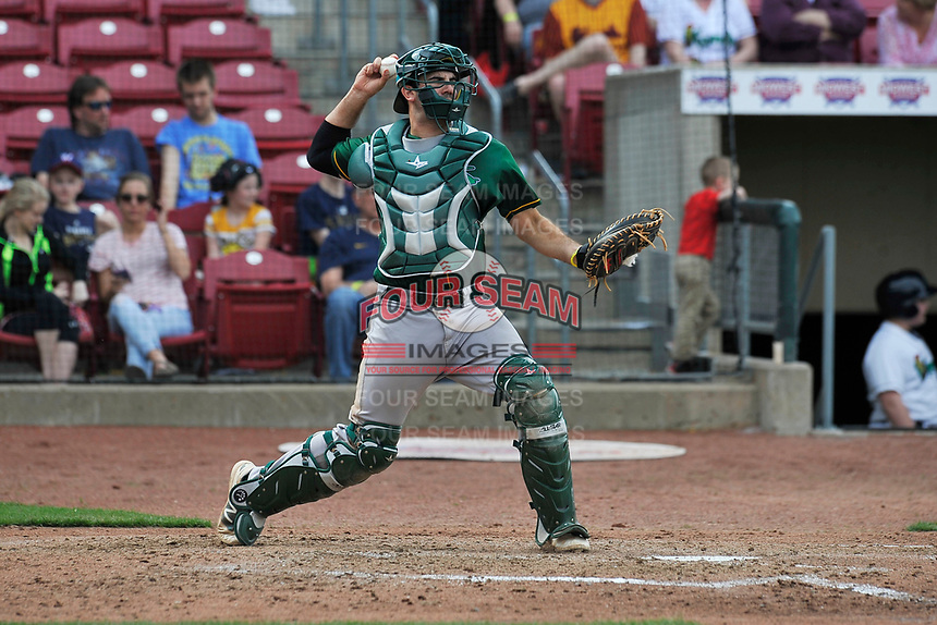 Beloit Snappers catcher Jason Goldstein (18) throws to second base during a game against the Cedar Rapids Kernels at Veterans Memorial Stadium on April 9, 2017 in Cedar Rapids, Iowa.  The Kernels won 6-1.  (Dennis Hubbard/Four Seam Images)