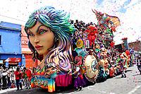 PASTO - COLOMBIA, 06-01-2019: En éste día se realiza el Día de Blancos, se lleva a cabo el evento más importante: el Desfile Magno. Alrededor del juego de blanquitos, Pasto explota estética y lúdicamente éste día. 4000 artistas de diferentes modalidades, hacen magia desde la plástica, el volumen, el color y la música. Entre los artistas y la ciudadanía cerca de un millón de personas disfrutan el Día Magno. / On this day the White Day takes place, the most important event takes place: the Magno Parade. Around the game of blanquitos, Pasto exploits aesthetically and playfully this day. 4000 artists of different modalities, make magic from the plastic, the volume, the color and the music. Between the artists and the citizenship close to a million people enjoy the Día Magno. / Photo: VizzorImage / Leonardo Castro / Cont.