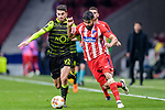 Diego Costa of Atletico de Madrid (R) fights for the ball with Cristiano Piccini of Sporting CP (L) during the UEFA Europa League quarter final leg one match between Atletico Madrid and Sporting CP at Wanda Metropolitano on April 5, 2018 in Madrid, Spain. Photo by Diego Souto / Power Sport Images