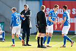 20.02.2021, xtgx, Fussball 3. Liga, FC Hansa Rostock - SV Waldhof Mannheim, v.l. Nik Omladic (Hansa Rostock, 21), Jens Haertel (Hansa Rostock, Trainer) Auswechslung<br /> <br /> (DFL/DFB REGULATIONS PROHIBIT ANY USE OF PHOTOGRAPHS as IMAGE SEQUENCES and/or QUASI-VIDEO)<br /> <br /> Foto © PIX-Sportfotos *** Foto ist honorarpflichtig! *** Auf Anfrage in hoeherer Qualitaet/Aufloesung. Belegexemplar erbeten. Veroeffentlichung ausschliesslich fuer journalistisch-publizistische Zwecke. For editorial use only.