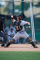 GCL Pirates catcher Manny Bejerano (58) throws to second base during a game against the GCL Braves on July 27, 2017 at ESPN Wide World of Sports Complex in Kissimmee, Florida.  GCL Braves defeated the GCL Pirates 8-6.  (Mike Janes/Four Seam Images)