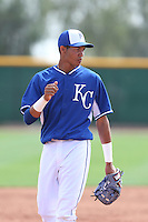 Angel Franco #6 of the Kansas City Royals during a Minor League Spring Training Game against the Texas Rangers at the Kansas City Royals Spring Training Complex on March 20, 2014 in Surprise, Arizona. (Larry Goren/Four Seam Images)