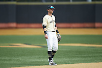 Wake Forest Demon Deacons shortstop Patrick Frick (5) on defense against the Notre Dame Fighting Irish at David F. Couch Ballpark on March 10, 2019 in  Winston-Salem, North Carolina. The Demon Deacons defeated the Fighting Irish 7-4 in game one of a double-header.  (Brian Westerholt/Four Seam Images)