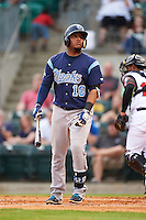 Corpus Christi Hooks catcher Roberto Pena (10) at bat during a game against the Arkansas Travelers on May 29, 2015 at Dickey-Stephens Park in Little Rock, Arkansas.  Corpus Christi defeated Arkansas 4-0 in a rain shortened game.  (Mike Janes/Four Seam Images)