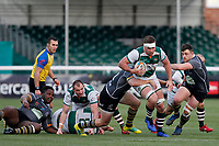 Ryan Smid of Ealing Trailfinders bursts through during the Championship Cup Quarter Final match between Ealing Trailfinders and Nottingham Rugby at Castle Bar , West Ealing , England  on 2 February 2019. Photo by Carlton Myrie / PRiME Media Images.