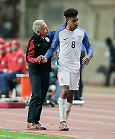 Leiria, Portugal - Tuesday November 14, 2017: Dave Sarachan, Weston McKennie during an International friendly match between the United States (USA) and Portugal (POR) at Estádio Dr. Magalhães Pessoa.