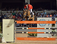 WELLINGTON, FL - APRIL 02: Grand prix action at the 2016 Winter Equestrian Festival (WEF) concluded with an exciting international showdown Saturday night as Great Britain's Ben Maher and Jane Clark's Sarena jumped to victory in the $500,000 Rolex Grand Prix CSI 5*. The finale grand prix for the winter circuit, Maher and Sarena topped a seven-horse jump-off, with McLain Ward (USA) and HH Azur in second, and Meredith Michaels-Beerbaum (GER) and Fibonacci 17 third. The Winter Equestrian Festival (WEF) is the largest, longest running hunter/jumper equestrian event in the world held at the Palm Beach International Equestrian Center on April 2, 2016  in Wellington, Florida.<br /> <br /> <br /> People:  Abdel Saied