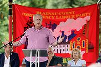 Pictured: First Minister for Wales Carwyn Jones addresses supporters. Sunday 01 July 2018<br /> Re: Labour Party leader Jeremy Corbyn at the celebration for the 70 years since the National Health Service (NHS) was founded by Aneurin Bevan, Bedwellty Park, Tredegar, Wales, UK.