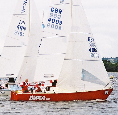 Robin Eagleson at the helm of his J24 Luder Too