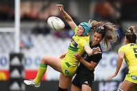 22nd May 2021; Eden Park, Auckland New Zealand;  Sharni Williams (L) and Theresa Fitzpatrick. Black Ferns Womens Sevens versus Australia Women, Trans-Tasman Sevens at Eden Park, Auckland.