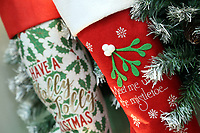 Pictured: Christmas stockings in the showroom. Thursday 16 November 2017<br /> Re: Festive company which manufactures tinsel in Cwmbran, Wales, UK.