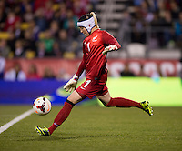 Jenny Bindon (1) of New Zealand punts the ball out of the box during an international friendly at Crew Stadium in Columbus, OH. The USWNT tied New Zealand, 1-1.