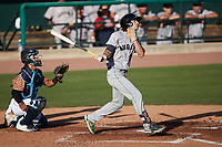 Stephen Paolini (26) of the Augusta GreenJackets follows through on his swing against the Charleston Boiled Peanuts at Joseph P. Riley, Jr. Park on June 26, 2021 in Charleston, South Carolina. (Brian Westerholt/Four Seam Images)