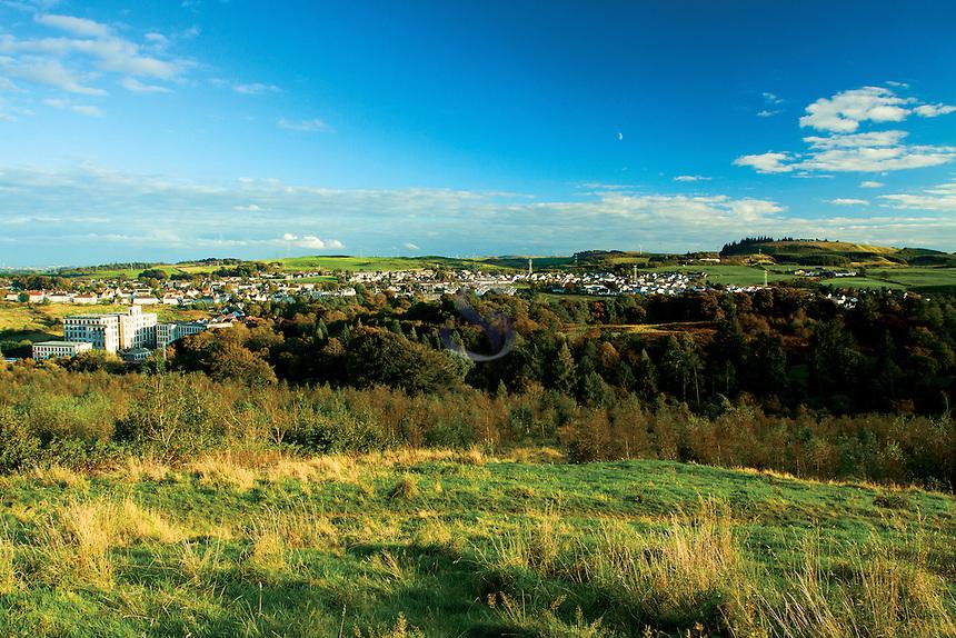 Neilston, Crofthead Mill and Neilston Pad from the Lochboilside Hills, Neilston, East Renfrewshire