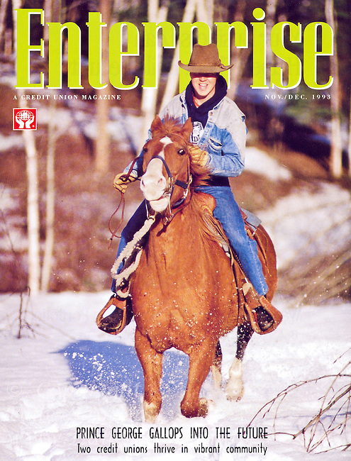 Enterprise Magazine Cover featuring a photo of Dale's brother Lenard riding a horse in winter.