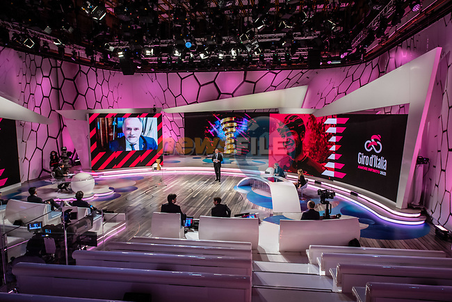 The presentation of the 2021 Giro d'Italia Route in the Rai Studios in Corso Sempione, Milan, Italy. 23rd February 2021.  <br /> Picture: LaPresse/Claudio Furlan   Cyclefile<br /> <br /> All photos usage must carry mandatory copyright credit (© Cyclefile   LaPresse/Claudio Furlan)