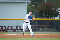Burlington Royals third baseman Jake Means (9) makes a throw to first base against the Johnson City Cardinals at Burlington Athletic Stadium on September 4, 2019 in Burlington, North Carolina. The Cardinals defeated the Royals 8-6 to win the 2019 Appalachian League Championship. (Brian Westerholt/Four Seam Images)