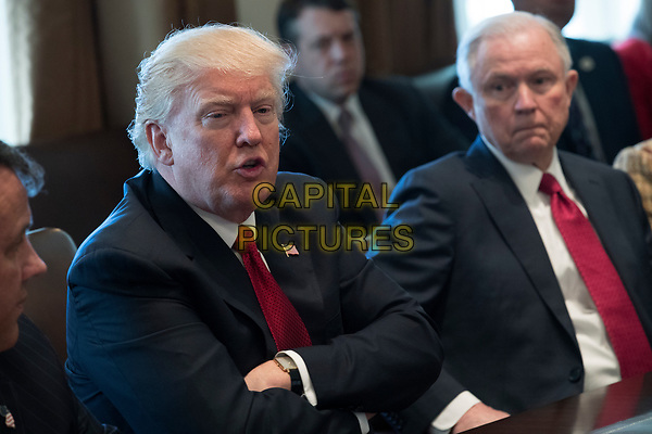 US President Donald J. Trump (L), with Attorney General Jeff Sessions (R),<br />  delivers remarks during an opioid and drug abuse listening session in the Roosevelt Room of the White House in Washington, DC, USA, 29 March 2017.<br /> CAP/MPI/CNP/RS<br /> ©RS/CNP/MPI/Capital Pictures
