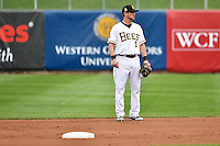 Shawn O'Malley (5) of the Salt Lake Bees during the game against the Reno Aces at Smith's Ballpark on May 5, 2014 in Salt Lake City, Utah.  (Stephen Smith/Four Seam Images)