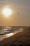 A windsurfer is seen at sunset on South Beach in Edgertown Ma. on Martha's Vineyard.
