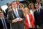 Cristina Cifuentes behind Mariano Rajoy during the presentation of candidates to the Congress of Deputies in Madrid. May 24, 2016. (ALTERPHOTOS/Borja B.Hojas)