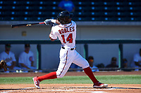 Mesa Solar Sox designated hitter Victor Robles (14), of the Washington Nationals organization, follows through on his swing during an Arizona Fall League game against the Scottsdale Scorpions on October 24, 2017 at Sloan Park in Mesa, Arizona. The Scorpions defeated the Solar Sox 3-1. (Zachary Lucy/Four Seam Images)