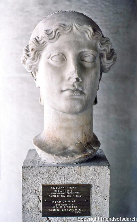 Greek Arts:  Head of Nike--2nd century A.D. copy of 5th century B.C.  Athens.  Photo '82.