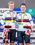 Lotte Kopecky and Jollen D'Hoore of Belgium celebrate winning in the Women's Madison 30 km's prize ceremony during the 2017 UCI Track Cycling World Championships on 15 April 2017, in Hong Kong Velodrome, Hong Kong, China. Photo by Marcio Rodrigo Machado / Power Sport Images