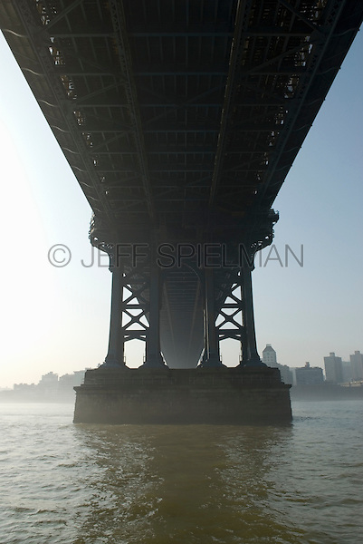 Available Soon from plainpicture for Commercial and Editorial Licensing.<br /> <br /> Available Directly from Jeff as a Fine Art Print.<br /> <br /> Upward View of the Manhattan Bridge's Support Structure in Early Morning Light, Lower Manhattan, New York City, New York State, USA