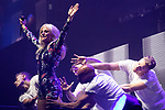 © Joel Goodman - 07973 332324 . No Editorial syndictaion permitted . 09/09/2017. Manchester , UK . PIXIE LOTT performs . We Are Manchester reopening charity concert at the Manchester Arena with performances by Manchester artists including  Noel Gallagher , Courteeners , Blossoms and the poet Tony Walsh . The Arena has been closed since 22nd May 2017 , after Salman Abedi's terrorist attack at an Ariana Grande concert killed 22 and injured 250 . Money raised will go towards the victims of the bombing . Photo credit : Joel Goodman