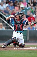 Rochester Red Wings catcher Steve Holm #24 throws back to the pitcher during a game against the Indianapolis Indians at Frontier Field on June 18, 2011 in Rochester, New York.  Rochester defeated Indianapolis 12-7 on Star Wars night where the team wore special jerseys.  (Mike Janes/Four Seam Images)