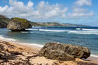 Barbados.  Bathsheba Beach Scene, Atlantic Ocean.