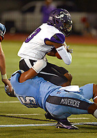 Fayetteville's Omar Murray (13) is stopped by Fort Smith Southside's Dmitri Lloyd (15) on Friday, Oct. 8, 2021 in Fort Smith. (Special to NWA Democrat Gazette/Brian Sanderford)