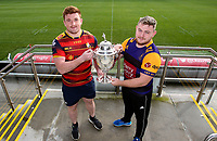 Monday 11th November 2019<br /> <br /> Pictured L-R are Ballyclare RFC Captain Dave Clarke and Instonians RFC vice-captain David Scott at the draw for the Semi-Final of this seasons MMW Legal Ulster Junior Cup which was held at Kingspan Stadium, Ravenhill Park, Belfast, Northern Ireland. Photo credit - John Dickson DICKSONDIGITAL