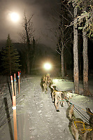 Hans Gatt is on the trail approaching the Rohn checkpoint as a full moon rises in the background during Iditarod 2009