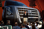 Photo: © Martin Beddall 5-7-06.VW Crafter van presentation day at Dover. Introducing the new van to Uk dealers and their customers as part of a roadshow around the UK..Ralf Schueler, Headof Marketing for VW Commercial vehicles gives an opening presentation.