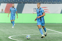 FOXBOROUGH, MA - SEPTEMBER 02: James Sands #16 of New York City FC looks to pass during a game between New York City FC and New England Revolution at Gillette Stadium on September 02, 2020 in Foxborough, Massachusetts.
