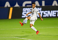 CARSON, CA - SEPTEMBER 19: Efrain Alvarez #26 of the Los Angeles Galaxy traps the ball during a game between Colorado Rapids and Los Angeles Galaxy at Dignity Heath Sports Park on September 19, 2020 in Carson, California.