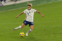 ORLANDO, FL - JANUARY 22: Emily Fox #27 passes the ball during a game between Colombia and USWNT at Exploria stadium on January 22, 2021 in Orlando, Florida.