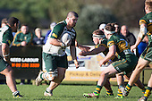 Lachlan Collier charges in to the Pukekohe defenders. Counties Manukau Premier Club Rugby game between Pukekohe and Manurewa, played at Colin Lawrie Fields, Pukekohe, on Saturday May 28th, 2016. Pukekohe won the game 62 - 18 after leading 19 - 10 at halftime. Photo by Richard Spranger.