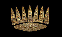 Top leaf shapes of a Mycenaean gold diadem from Grave III, 'Grave of a Women', Grave Circle A, Myenae, Greece. National Archaeological Museum Athens. Black Background<br /> Cat No 3,5. 16th century BC.<br /> <br /> Shaft Grave III, the so-called 'Grave of the Women,' contained three female and two infant interments. The women were literally covered in gold jewelry and wore massive gold diadems, while the infants were overlaid with gold foil.