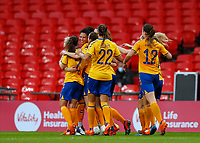 1st November 2020; Wembley Stadium, London, England; Womens FA Cup Final Football, Everton Womens versus Manchester City Womens; Valerie Gauvin of Everton Women celebrates with her team mates after scoring her sides equalising goal in the 60th minute to make it 1-1